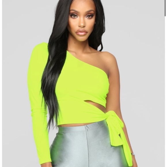 Fashion Nova Holding It Down Neon Crop Top